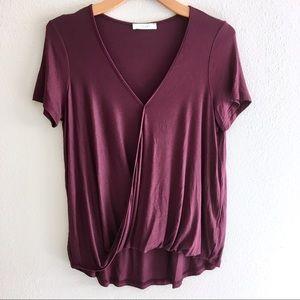 Lush Short Sleeve Crossover Top Size M - Burgundy